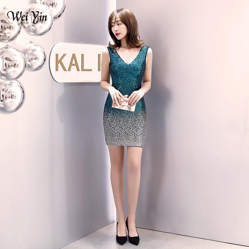 Wei yin-فستان كوكتيل أخضر مطرزة ، فستان سهرة ضيق ومثير ، ياقة على شكل V ، سباغيتي ، مجموعة جديدة 2020 ، WY1622