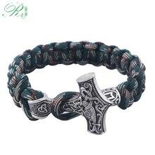 RJ Handmade Norse Viking Bracelets Thor Mjolnir Hammer Paracord Armband Amulet Rune Knot Scandinavian Bangles Men Jewelry Gifts