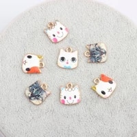 fashion cat enamel charms gift cat avatar alloy charms pendants for bracelet necklace jewelry accessories diy craft