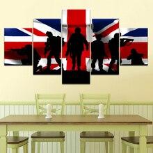 Papier peint de toile 5 pièces de larmée britannique   Papier peint de toile, affiche dart moderne modulaire, toile de peinture pour décor de salon, de maison