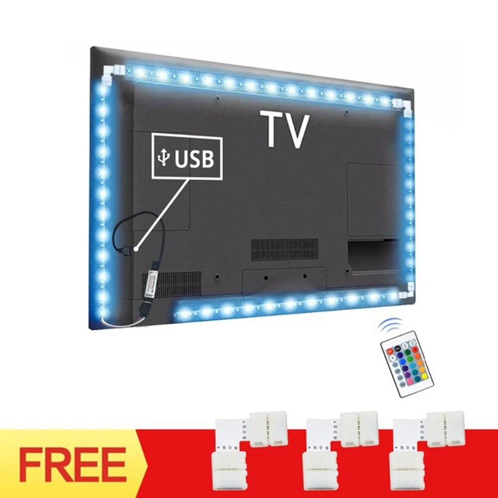 USB Power TV задний светильник RGB светодиодный светильник s гибкий 1 м 2 м 3 м светодиодный Tira с разъемом 90 градусов 24 клавиши пульт дистанционного управления для ПК светильник смещения