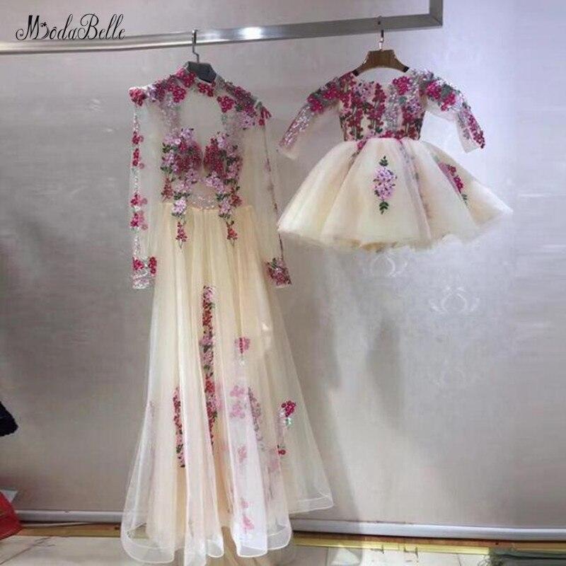 Modabelle, Vestido de noche con flores de Arabia Saudita, Vestido Formal de manga larga, vestidos de graduación para madre e hija, Vestido de fiesta de honor