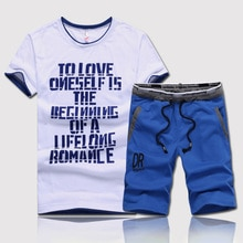 Nieuwe Mode Zomer Mannen Sets Fitness Kleding Man Casual O-hals Letters Gedrukt T-shirt + Trekkoord Shorts 2 Stuks sets