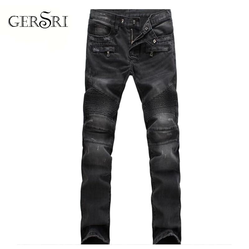 Gersri calças de brim do motociclista dos homens ajuste fino algodão do vintage rock rasgado elástico marca da motocicleta calças jeans tamanho grande je