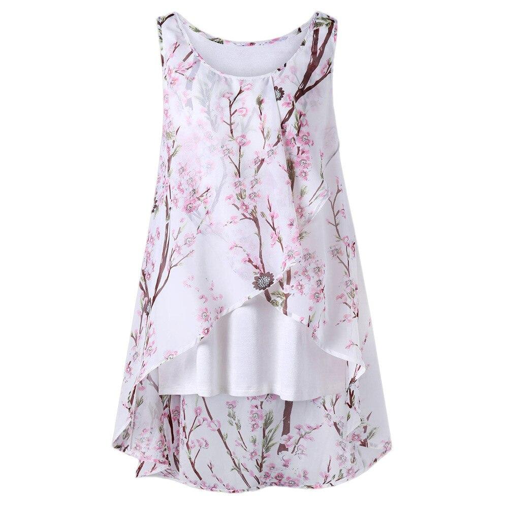 Mujer verano playa flores chaleco blusa sin mangas Casual Tank suelta camiseta body femme blusas femeninas de verao 2019