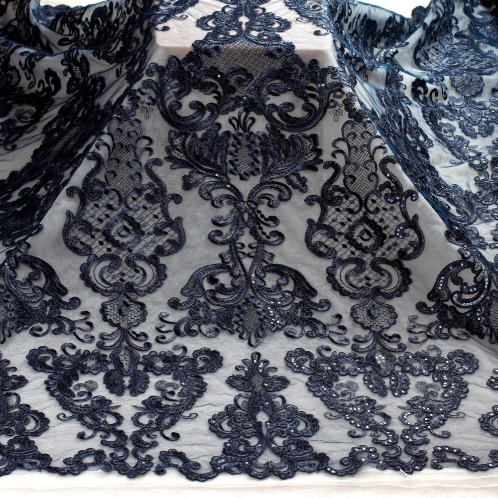 La Belleza 1 yarda Deep blue cord sequin marca vestido de noche/boda tela de encaje 51 paseos de encaje