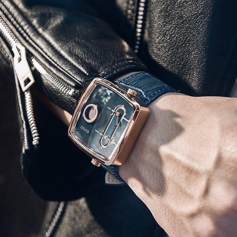 ساعة كوارتز من جلد البقر مربعة الشكل للرجال ، ساعة رجالية ، حزام ، قلب مزدوج ، أنيقة ، G8151 ، 2019
