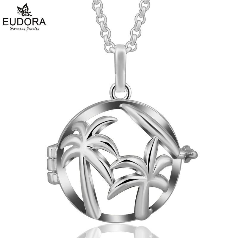 Eudora 20mm Bola de la armonía doble Coco árbol difusor medallones mujeres Ángel llamador jaula colgantes Collar para DIY