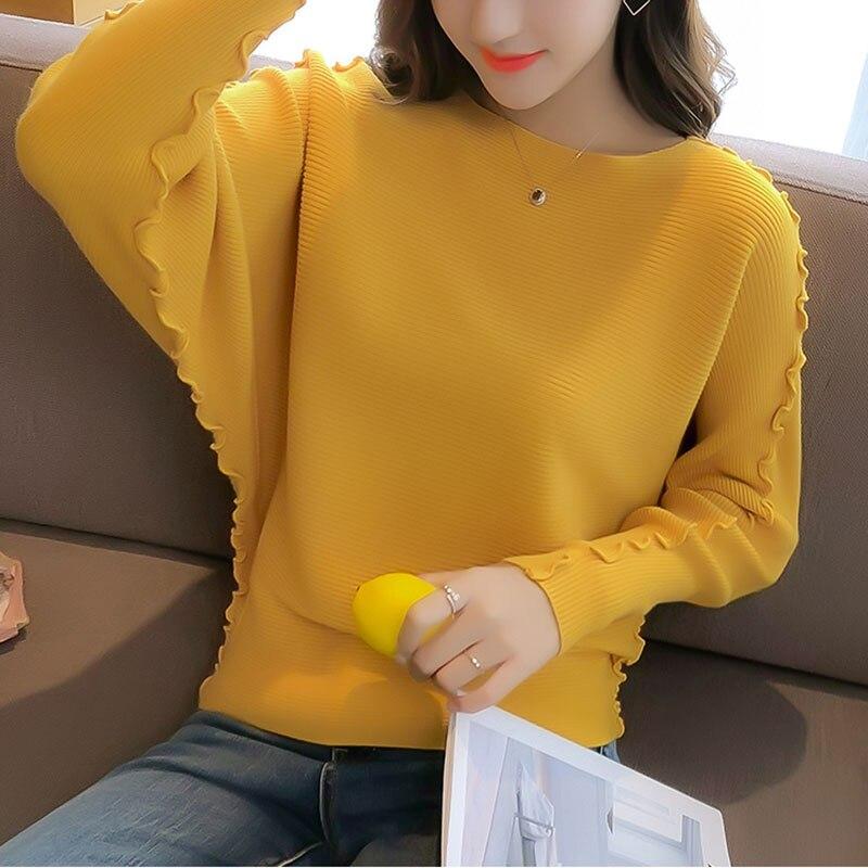Mujeres tejidas Pullover Tops moda Batwing manga señoras otoño jersey con cuello redondo sólido Casual Corea pulóveres y suéteres Mujer