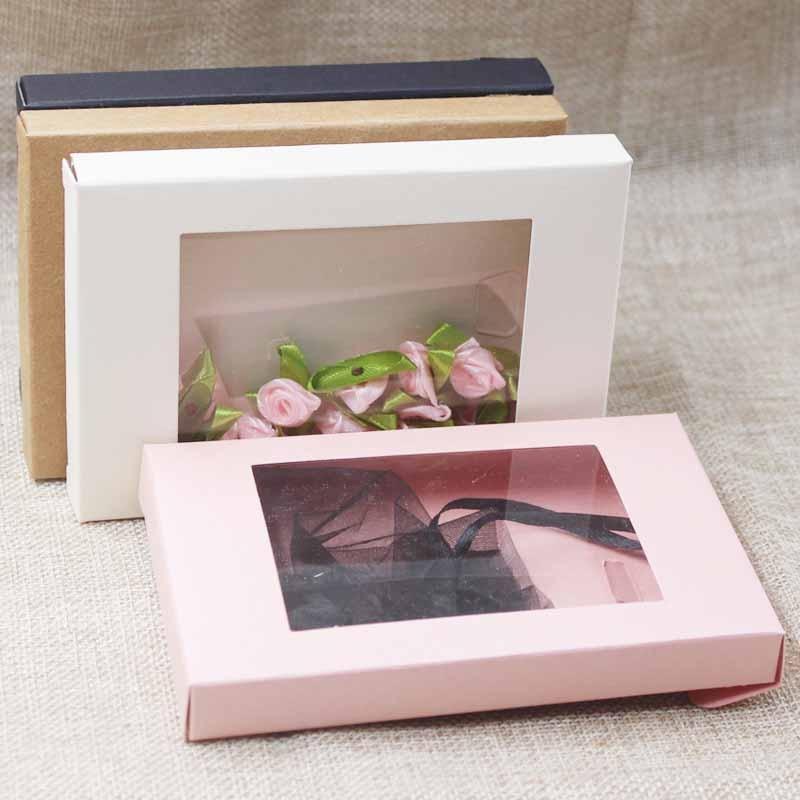 Boîte de cadeau en papier multicolore   Boîte de présentation de luxe avec fenêtre en pvc transparent, présentoir de bonbons arts & krafts, boîte de présentation de 10 pièces