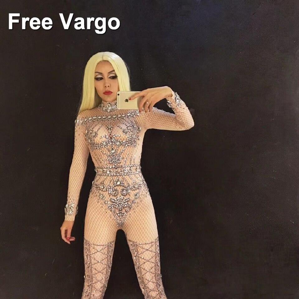 Holograma cristal Rhinestones Skinny Jumpsuit Nightclub fiesta mujeres etapa baile traje de Vedette Atuendo para cantante Bodysuit