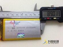Batterie rechargeable pile 405090 lithium ion polymère batterie 3.7 v pour réverbère solaire/ordinateur portable/produit numérique SD395089 2100 mah