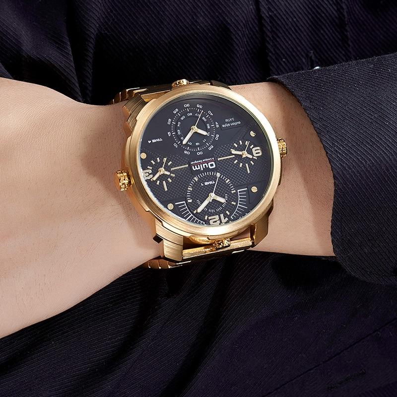 Top Brand Luxury Oulm Fashion Quartz Men Watch Big Size Dial Multiple Time Zone All steel Men Quartz Watches Gold Male Clock
