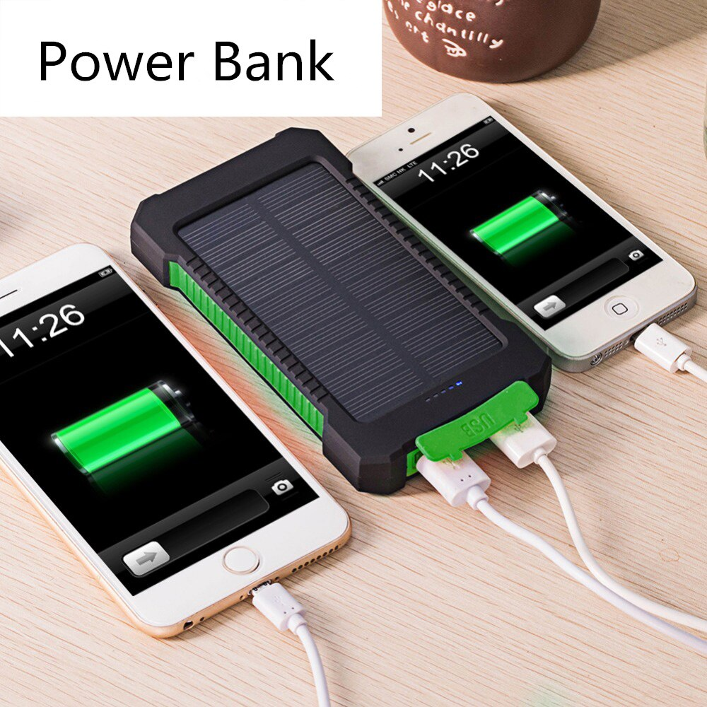 Solar Power Bank Dual USB Power Bank 10000mAh Waterproof Bateria External Portable Solar Panel with LED Light for Smart Phone