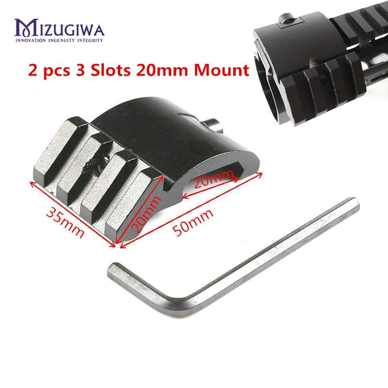 2 pièces Ultra profil bas Offset 3 fentes 45 degrés adaptateur latéral 20mm Picatinny Weaver Rail Mount AR 15 portée rouge point loupe