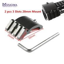 2 pçs ultra baixo perfil offset 3 slots 45 graus adaptador lateral 20mm picatinny weaver montagem em trilho ar 15 escopo vermelho ponto lupa