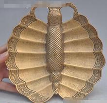 Fengshui-oiseau papillon animal cendrier   bronze de porcelaine marqué, Sculpture de statue artistique, S01011