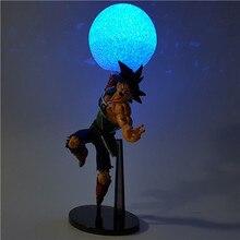 Boneco do dragon ball z bardock, boneco de brinquedo do dragon ball z de pvc, luzes de led, modelo de anime