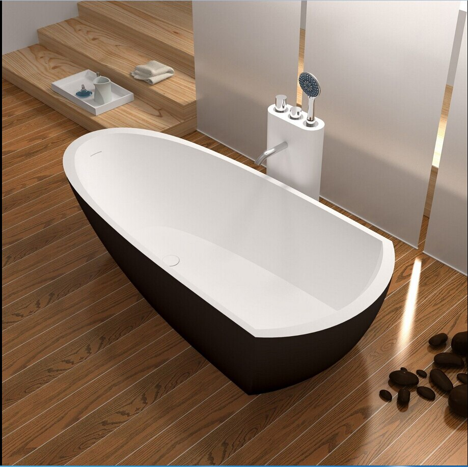 1800x800x500mm superficie sólida piedra bañera con certificación CUPC Rectangular independiente Corian mate blanco bañera de acabado RS6592BK