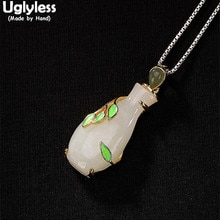 Uglyless 100% Real Solid 925 Sterling Silver Handmade Vase Pendants for Women Vintage Enamel Leaf Necklaces No Chain Jade Bijoux