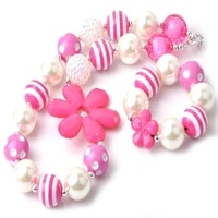 2020 new design hot pink girls chunky jewelry set kids charming bubblegum beads necklace bracelet for baby girls party favors