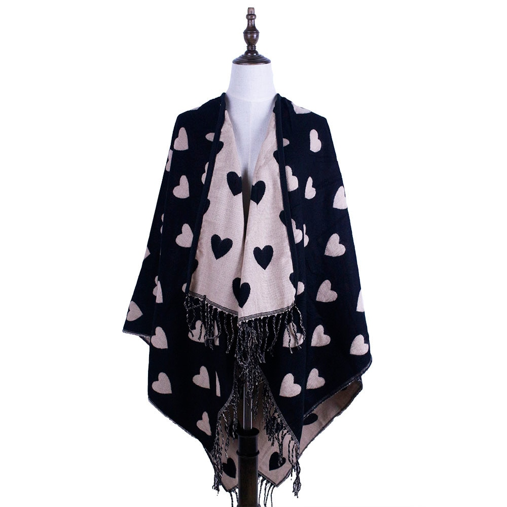 Amor poncho xales feminino capa de lã de caxemira inverno envolve borla xales coração moda outwear pashmina muffler amice cappa tippet