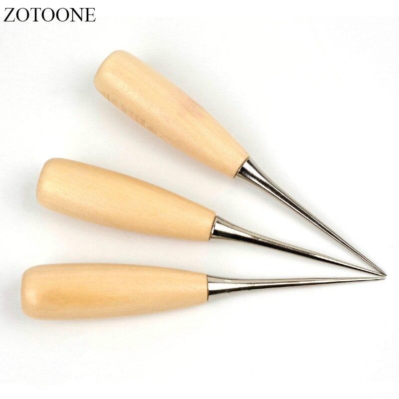 ZOTOONE, zapatos de costura de cuero de lona, herramienta con mango de madera, punzón, costura manual, Kit de artesanía de cuero, herramientas de aguja, suministros de costura artesanal