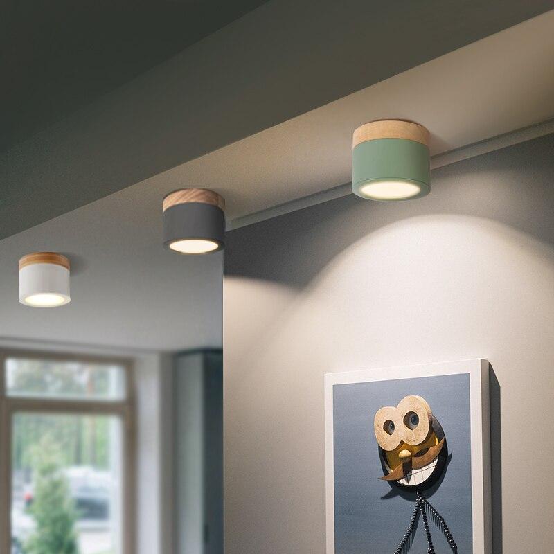 Lámpara De Techo De madera + Hierro, accesorio De luz Led De 7w para sala De estar, dormitorio De niños, pasillo, decoración del hogar, CA 220v