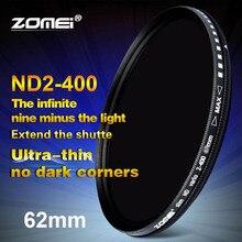 Zomei 62mm Fader Variable ND filtre réglable ND2 à ND400 ND2-400 densité neutre pour Canon NIkon Hoya Sony objectif de lappareil photo 62mm