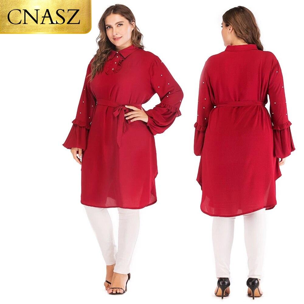 بلوزة شيفون إسلامية بأكمام طويلة ، ملابس إسلامية للنساء ، مقاس كبير 6XL