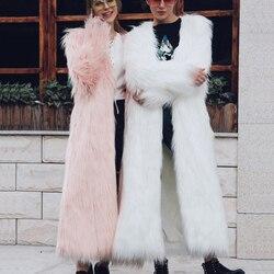 Fantasia longo casaco de pele de raposa do falso flutuante casaco de cabelo outono inverno feminino imitação de pele peluda 4xl 5xl plus size