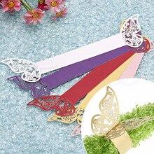 50 peças/lote estilo borboleta corte a laser porta guardanapo guardanapo de papel anéis guardanapos suportes hotel favores de casamento decoração de mesa