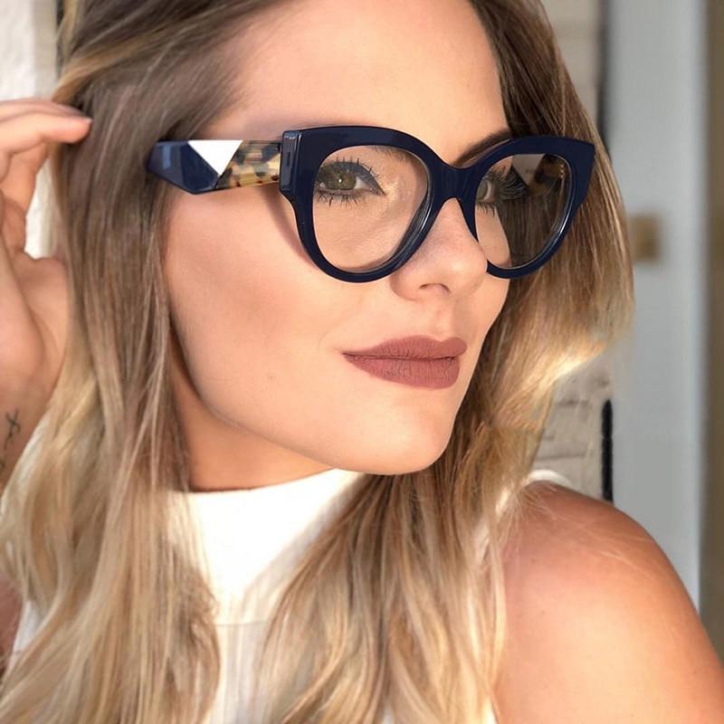 Gafas ópticas de acetato para mujer, modernas gafas de gran tamaño con montura de borde grande para mujer, montura de gafas graduadas