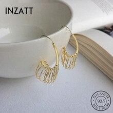 INZATT Real 925 Sterling Silver Minimalist Geometric Round Hoop Earrings For Charming Women Party Fine Jewelry Trendy 2019 Gift