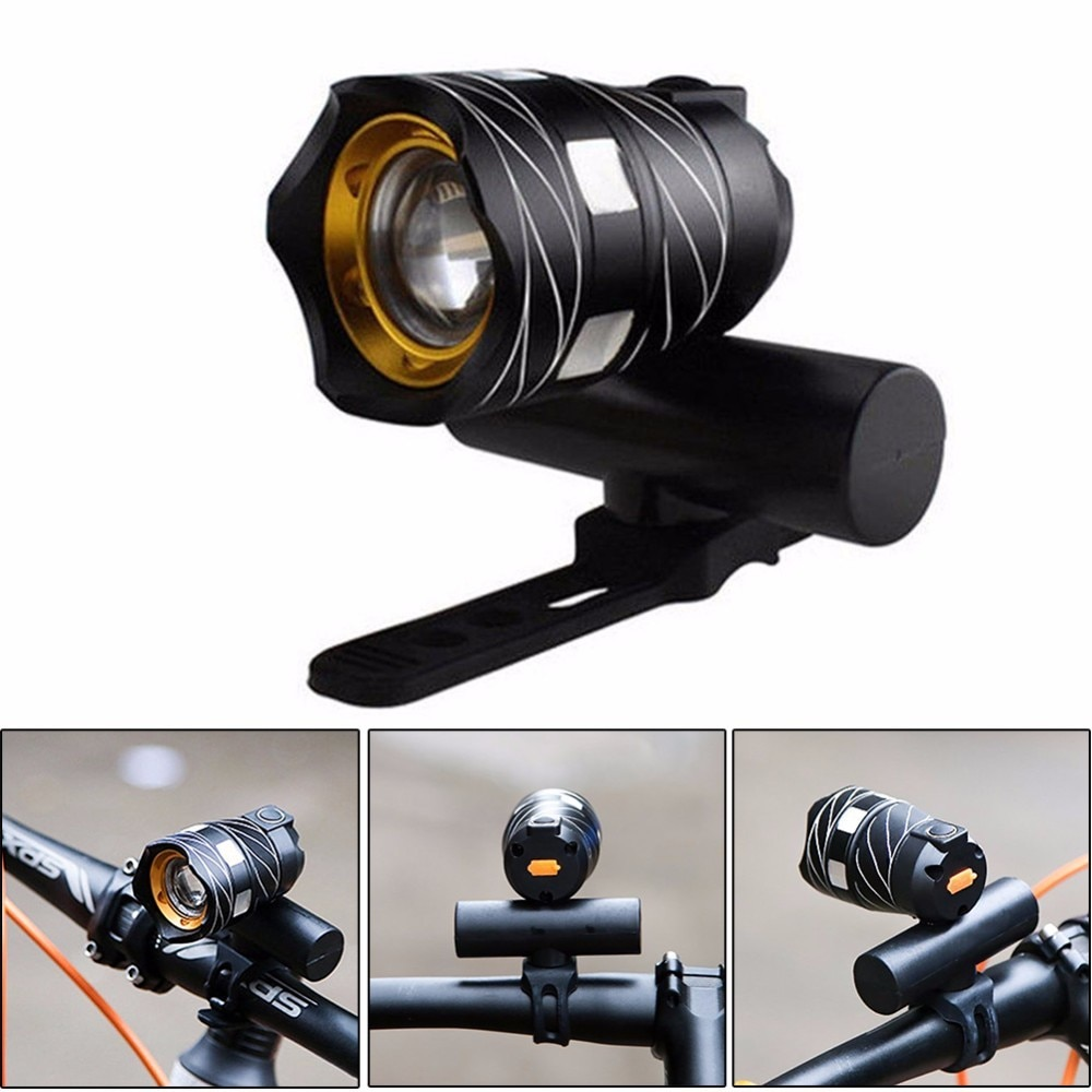 1600lm Zoomable XM-L T6 LED bicicleta luz delantera lámpara linterna con Cable USB recargable batería integrada 3 modos