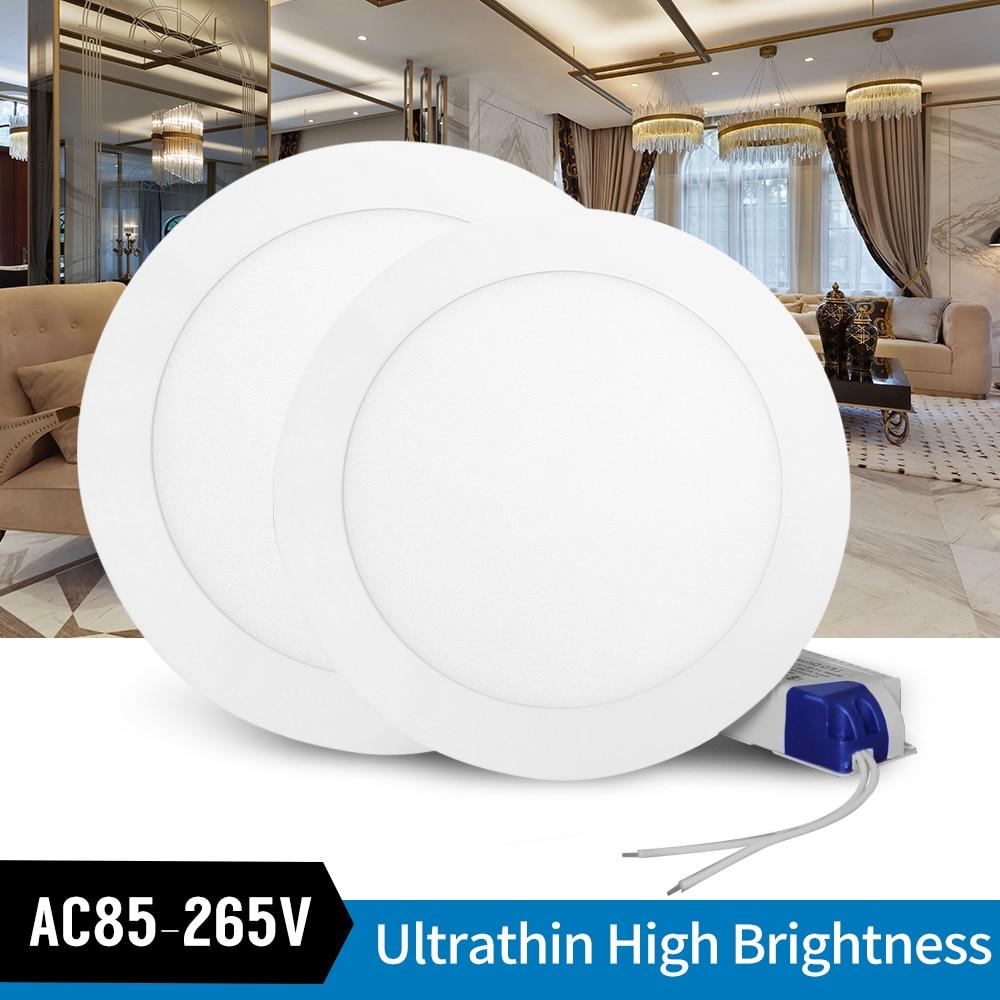 Ultrafino LED Downlight LED lámpara de panel redondo de 3W 6W 9W 12W 15W 18W Led Downlight empotrable en techo rejilla lámpara de iluminación 110V 220V