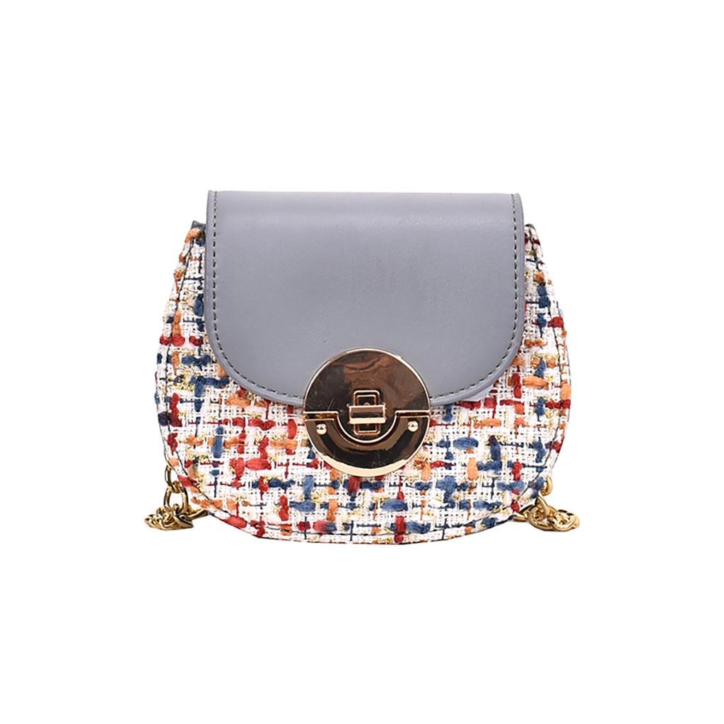 Torebki damskie bolsas para mujeres 2019 monedero solapa bolsa Patchwork Casual bolso de hombro bolsa femenina paja redonda bolsas