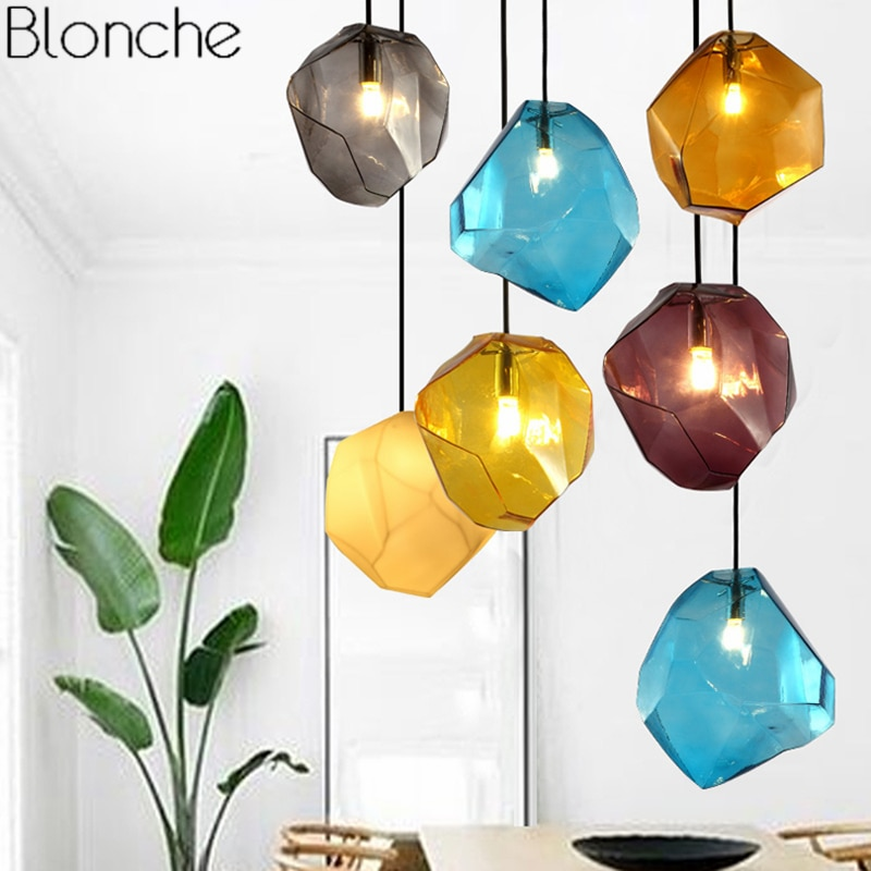 Lámpara colgante Luces colgantes modernas de cristal para comedor, cocina, decoración del hogar, accesorios de iluminación, lámpara Led Industrial para Loft