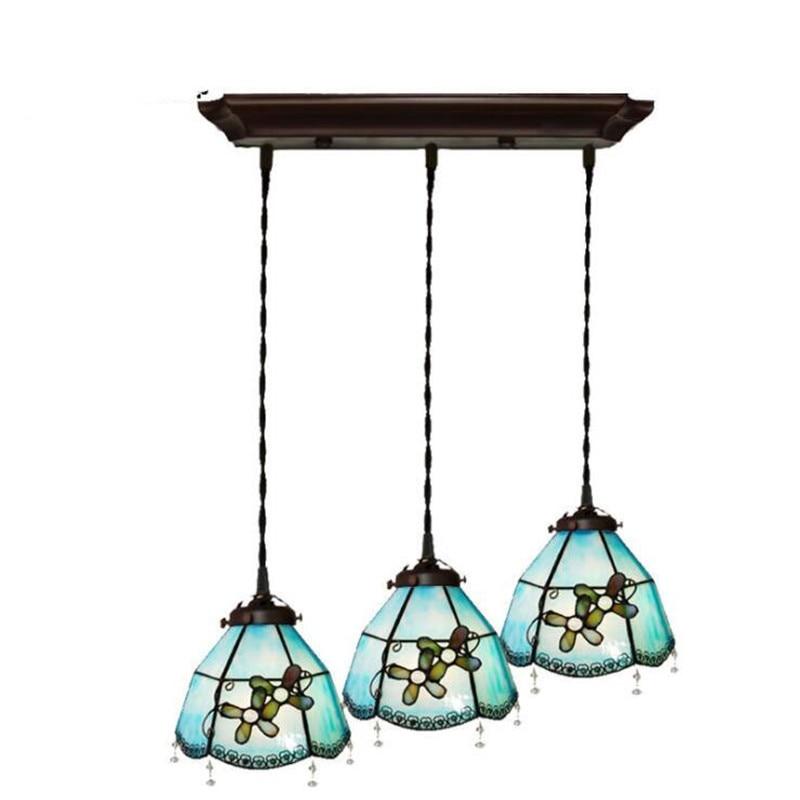 3 cabeças de Flores De Vidro Azul Do Mar Mediterrâneo Apartamento Barra de Suspensão para Foyer Sala de Jantar Luz Pingente de Vidro 1104