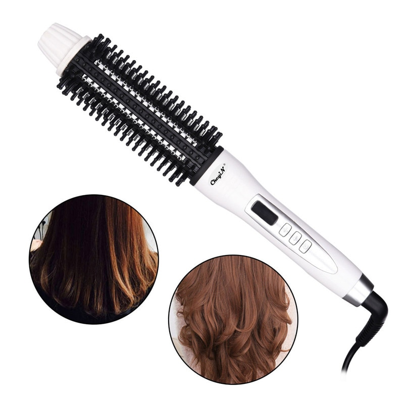 Professional Hair Dryer Brush 2 In 1 LED Hair Straightener Curler Comb Electric Blow Dryer Hot Air Brush Blower Roller Styler30 enlarge