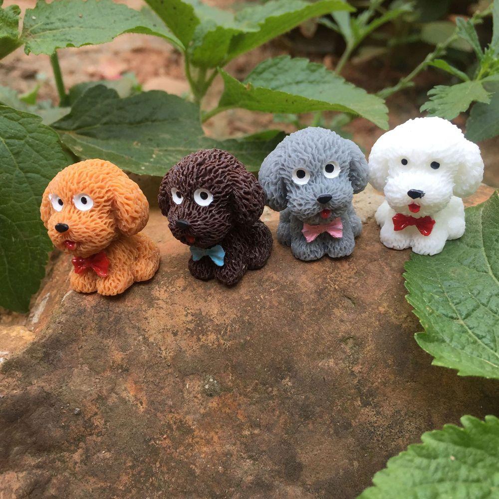 4Pcs DIY Beautiful Teddy Cute Ornament Toy Dog Pendant Figurines Animal Statue Puppy Miniatures Pet Dolls Crafts Garden Decor