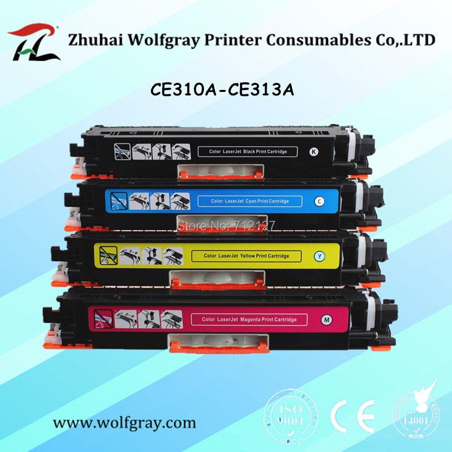 YI LE CAI 4Pk cartucho de toner compatible para HP 126A CE310A 310a CE311A 311a CE312A 312a CE313A 313a LaserJet Pro CP1025 1025nw