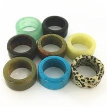 Hot!! Natural Stone Rings Lots Green Blue Black Big Band Agates Assortments Pull finger Ring For Women Men 12.5MM 18# 20# 6PCS
