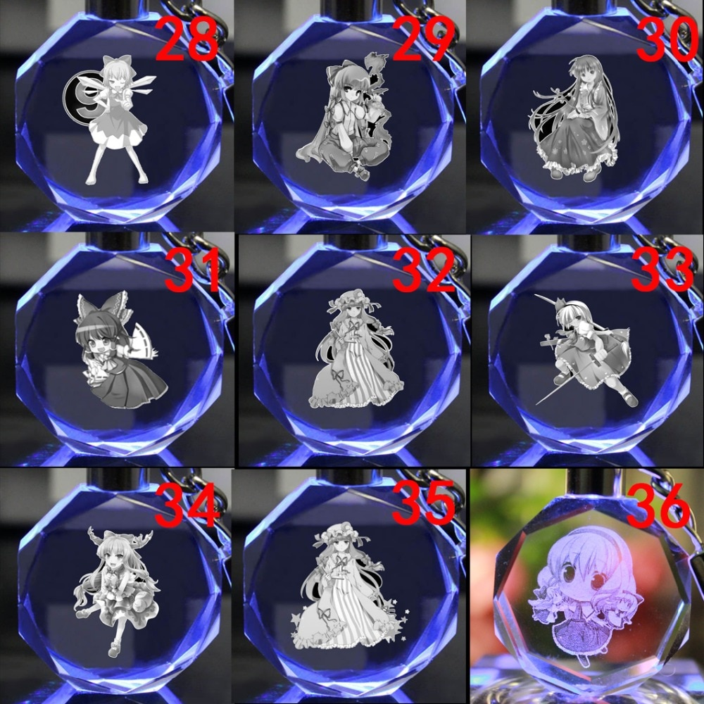 COSANER Touhou Project  Anime Customized LED Key Chains Keyring Crystal Keychain Light Keyholder Unisex Gifts