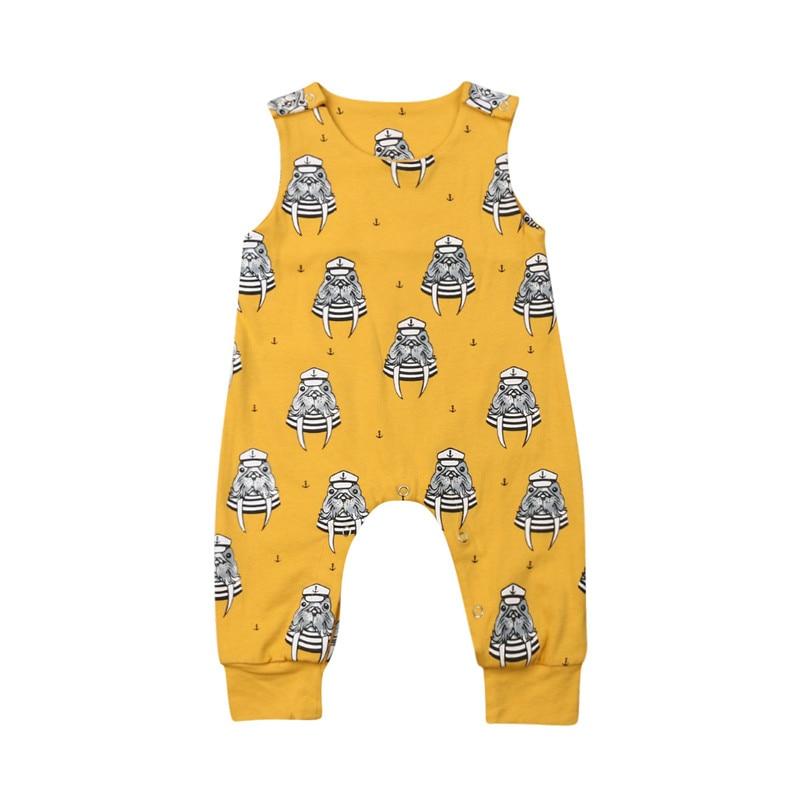 0-24M Baby Girl Boy Cotton Romper Summer Newborn Sleeveless Tank Jumpsuit Unisex Baby Clothes Animal Print O-Neck Sunsuits