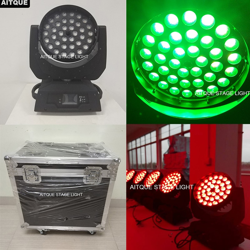 (12 luces + flycase) Led etapa de lavado rgbw uv lavado cabeza móvil 36x18 led cabeza móvil lavado zoom