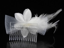 20 Pcs Bridal Hair Comb Silk Flower Feather Crystal Pearl Headpiece Wedding Accessory