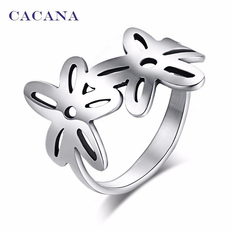 Anillos de acero inoxidable CACANA para mujer con doble flor joyería de moda al por mayor no. R71