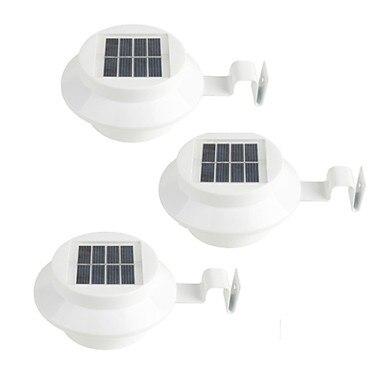 3 uds. De energía Solar canalón puerta valla LUZ DE LED de pared al aire libre jardín iluminación pared camino de vestíbulo lámpara solar-negro/blanco