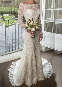 2021 Lace Long Sleeves Scoop Court Train Boho Wedding Dress Gown Sofuge Vestido De Noiva